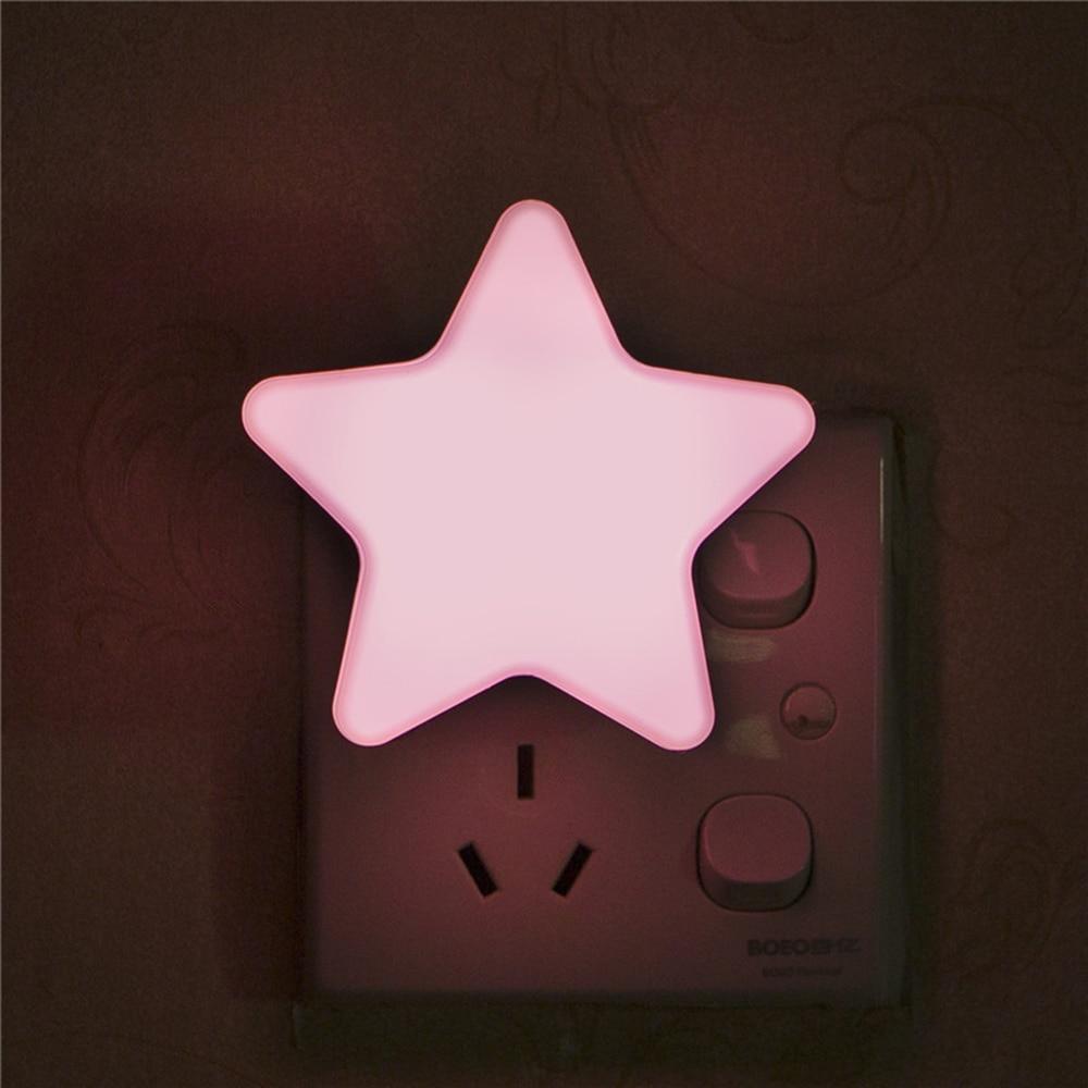 Mini Star LED Night Light Sensor Control Light Bedside Lamp With EU/US Plug Baby Sleeping Light For Children Bedroom ночник
