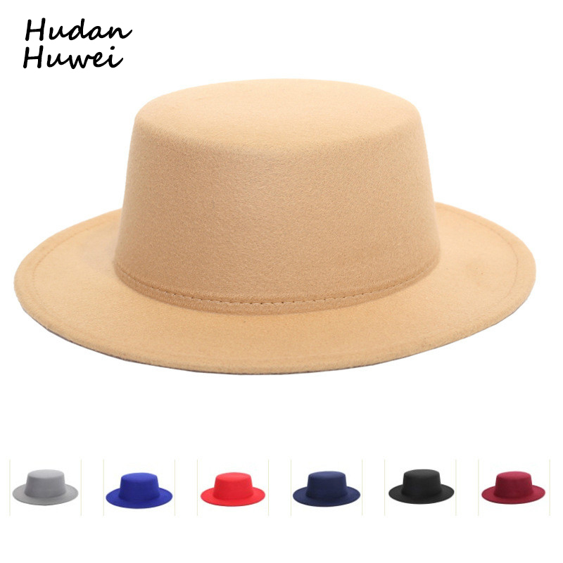Hats Trilby-Hat Wool-Felt Boater Amish-Style Retro Formal Women Ladies Flat-Top-Hat Flat-Brim