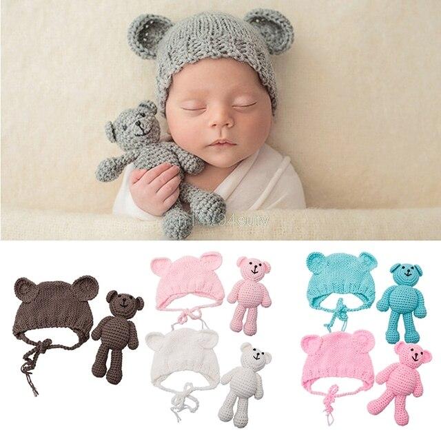 Bebé recién nacido Niño Crochet Knit traje oso + Set sombrero ...