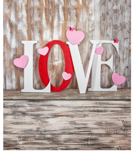Valentines Day Vinyl Cloth LOVE Wood Plank Floor
