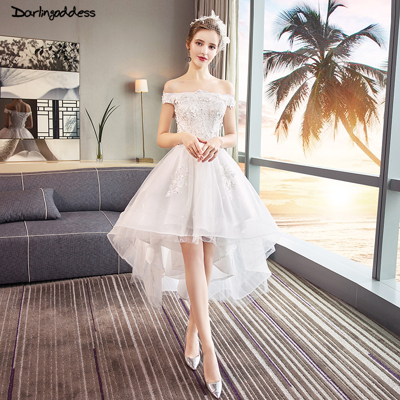 Hot Sale] High Low Wedding Dresses Puffy Mid Calf Luxury
