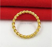 999 твердое 24 K кольцо из желтого золота/Тесто скрученное кольцо/2,68 г леди Weijie Us размер 5