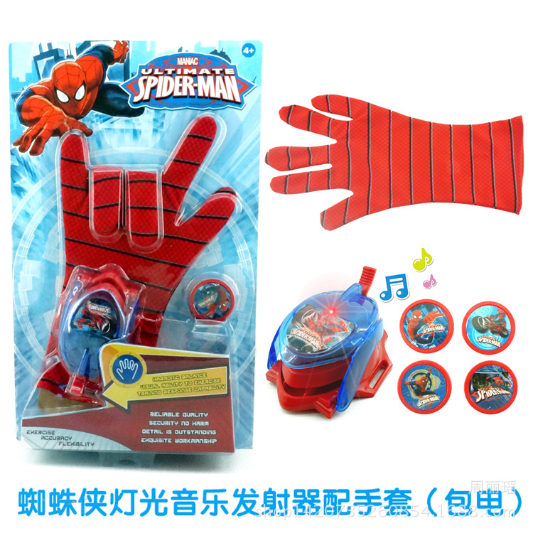 DC Justice League Superhero <font><b>Spiderman</b></font> Cosplay <font><b>Glove</b></font> with Flashing and Sounding,Kids Toy <font><b>Spiderman</b></font> <font><b>Glove</b></font> Launcher with 4 Frisbee