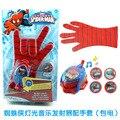 DC Liga Da Justiça Superhero Spiderman Cosplay Glove com Piscando e Soando, Brinquedo Dos Miúdos Spiderman Luva Lançador com 4 Do Frisbee