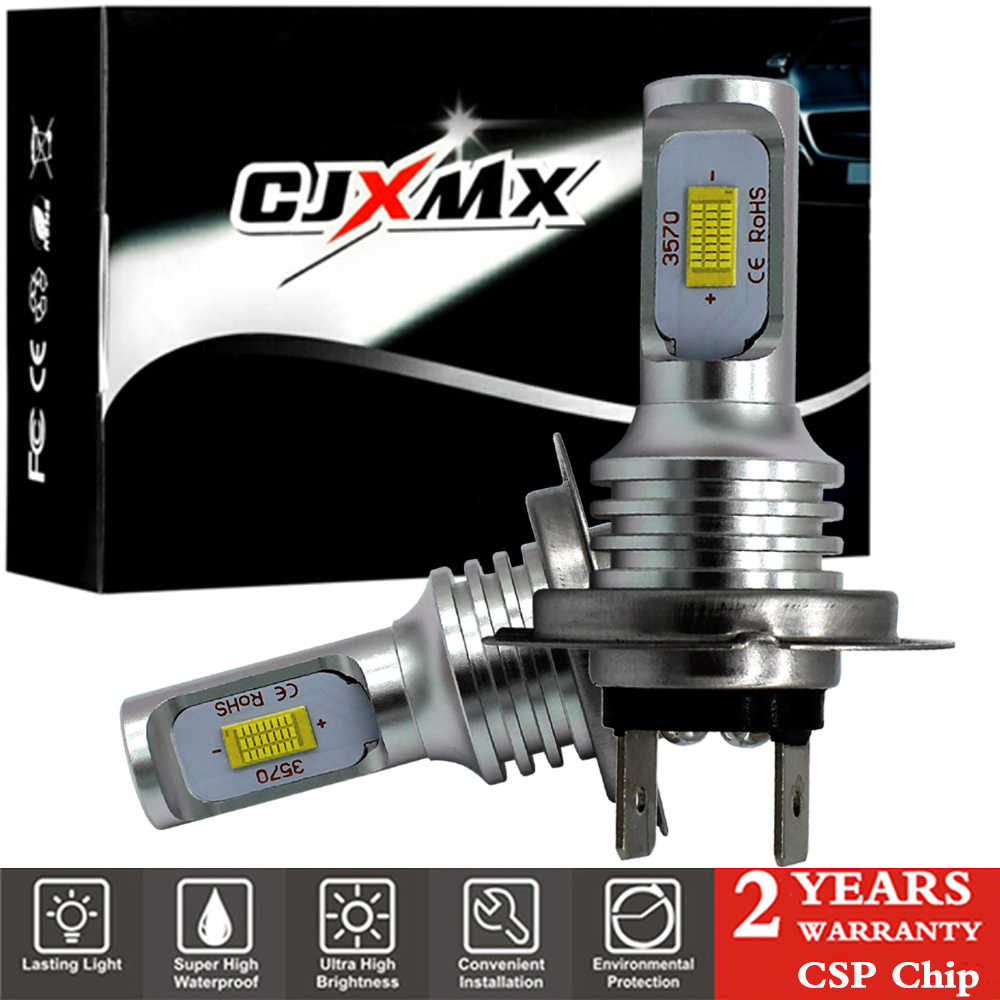CJXMX 2Pcs H7 LED Bulb H1 H3 H8 H11 H27/880 881 9005/HB3 9006/HB4 Car Fog Light Bulbs 6500K 1600LM CSP Super Bright Auto Lights