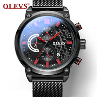 OLEV hombres deportes Relojes de cuarzo Top marca de lujo carbono Fibra dial reloj de malla de acero Correa cronógrafo reloj 6818