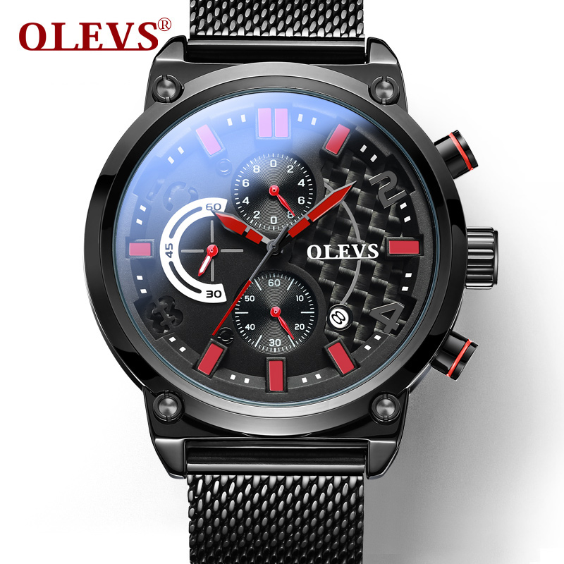 OLEVS Sports Men Quartz Watches Top Brand Luxury Carbon Fiber Dial Watch Clock Steel Mesh Strap Male Chronograph Wristwatch 6818 new listing men watch luxury brand watches quartz clock fashion leather belts watch cheap sports wristwatch relogio male gift