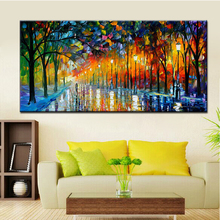 Aritist Modern 100% Handmade The Rainy Days Street Palette Knife Oil Painting On Canvas Home Decor Wall Picture For Living Room цена