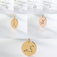 Personality 12 constellation pendant necklace necklace birthday gift personality Pisces Leo Libra ladies long chain necklace luo linglong s925 sterling silver pisces pendant necklace anti allergy simple temperament personality fresh hand original gift