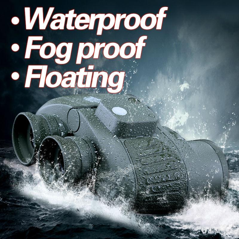 Military 10x50 HD Marine Binoculars Zoom font b Rangefinder b font Compass Telescope Eyepiece Waterproof Nitrogen