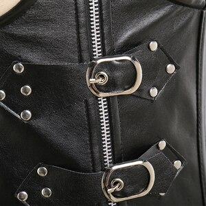 Image 4 - Corsé de cuero para mujer, corsé sexi de entrenamiento de cintura bajo el pecho 10 corsés de acero, corsé con corsé Steampunk, lencería, traje de talla grande