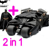 Two In One Awesome Batman Batmobile Toy Action Figure PVC With Sticker As Gift