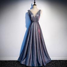 Новое поступление вечернее платье с круглым вырезом расшитое блестками длинное вечернее платье вечерние элегантные платья без рукавов