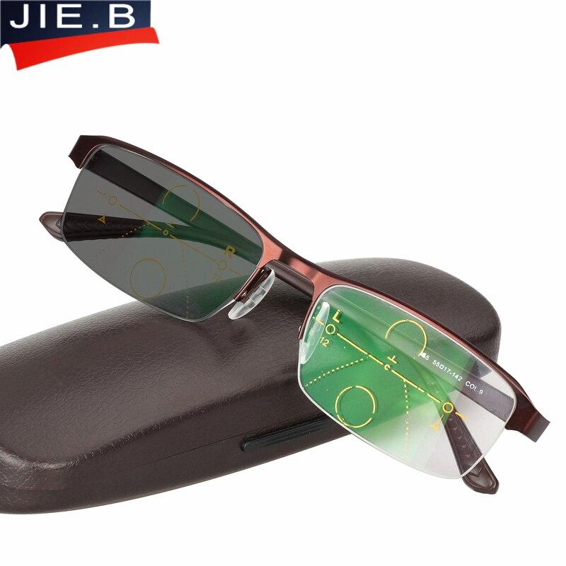 Multifocales progressives lunettes Transition Lunettes De Soleil Photochromiques Lunettes de Lecture Hommes Points pour Lecteur de façon à Un vue dioptrique