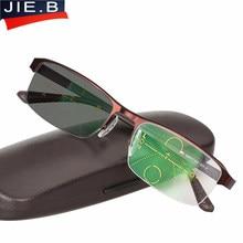 Óculos óculos de Sol De Transição Photochromic Multifocal progressiva Óculos  De Leitura Homens Pontos para o Leitor Perto Longe . e4e8543467