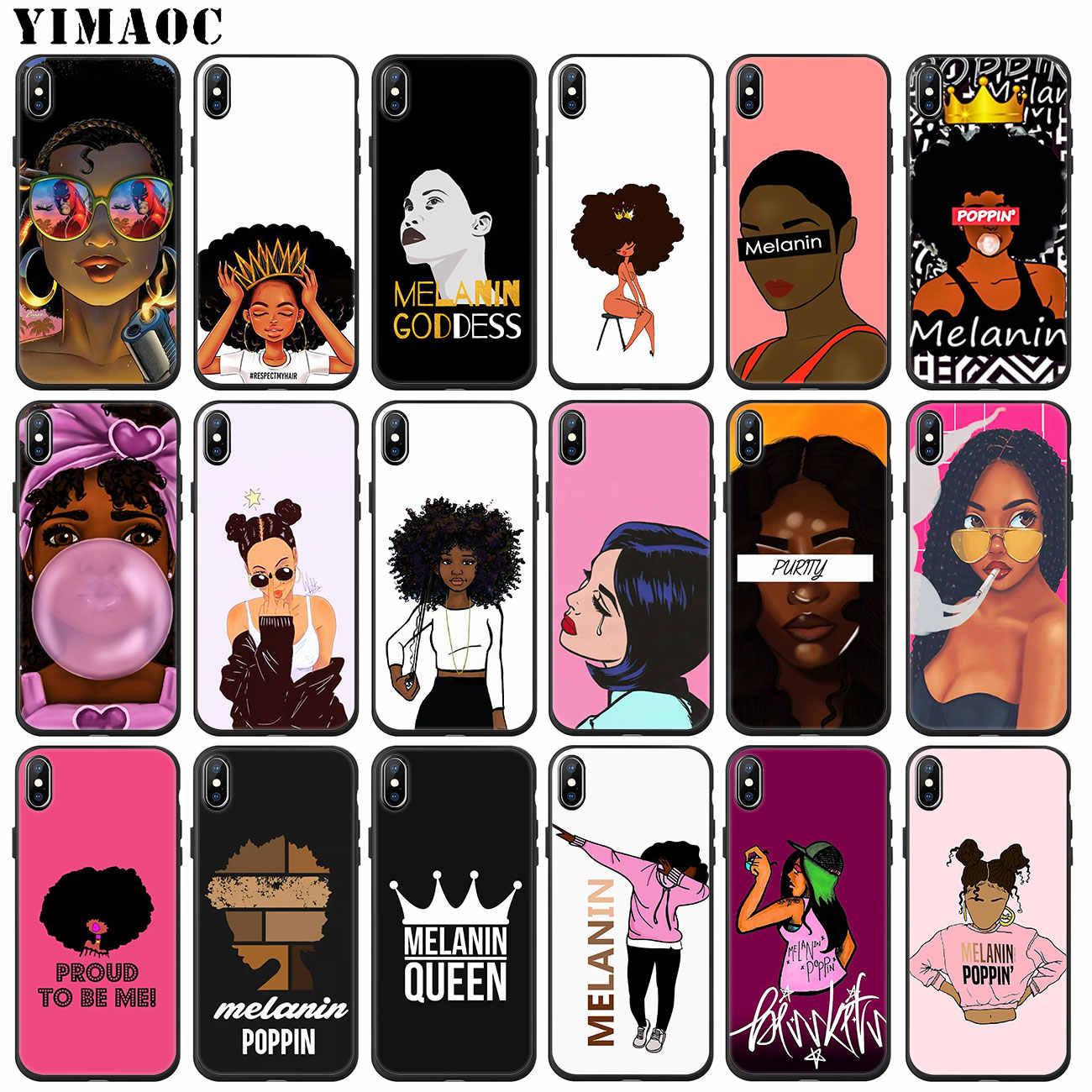 African Beauty Afro Puffs Black Girl Soft Silicone Phone Case For