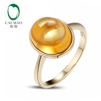 3.66ct Cabochon Cut Bezel Set Yellow Citrine Solitaire 14K Yellow Gold Ring