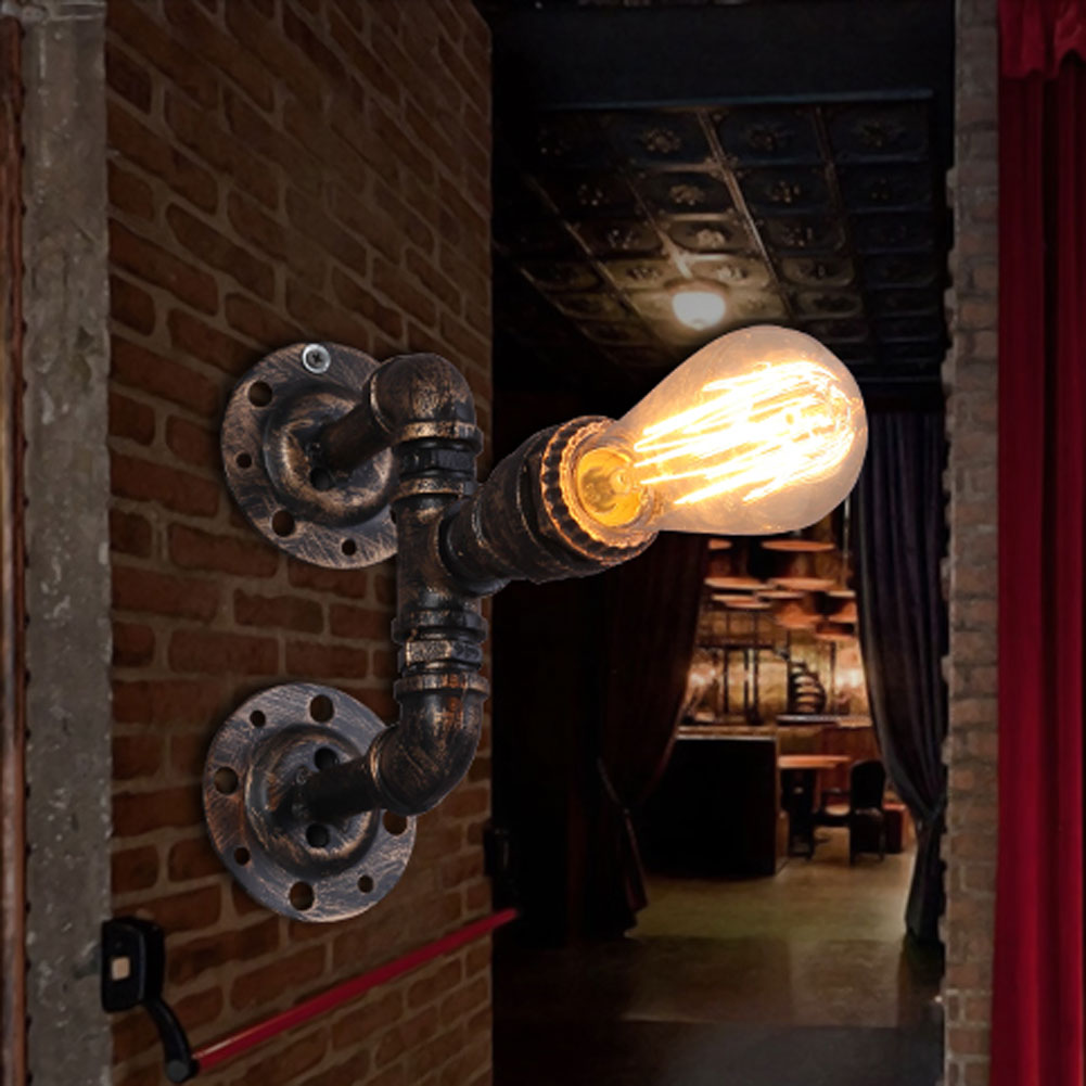ФОТО Stempunk Iron Waterpipe Wall Lamp Lighting Retro Industrial E27 Country Style Bedroom Dining Room Wall Light Lamparas Fixtures