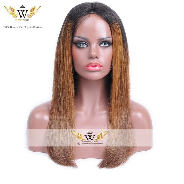 5A  Silkly Straight Highlight Human Hair Full Lace Wig Ombre Glueless Honey Blonde Lace Front Wig With Baby Hair Straight Wig