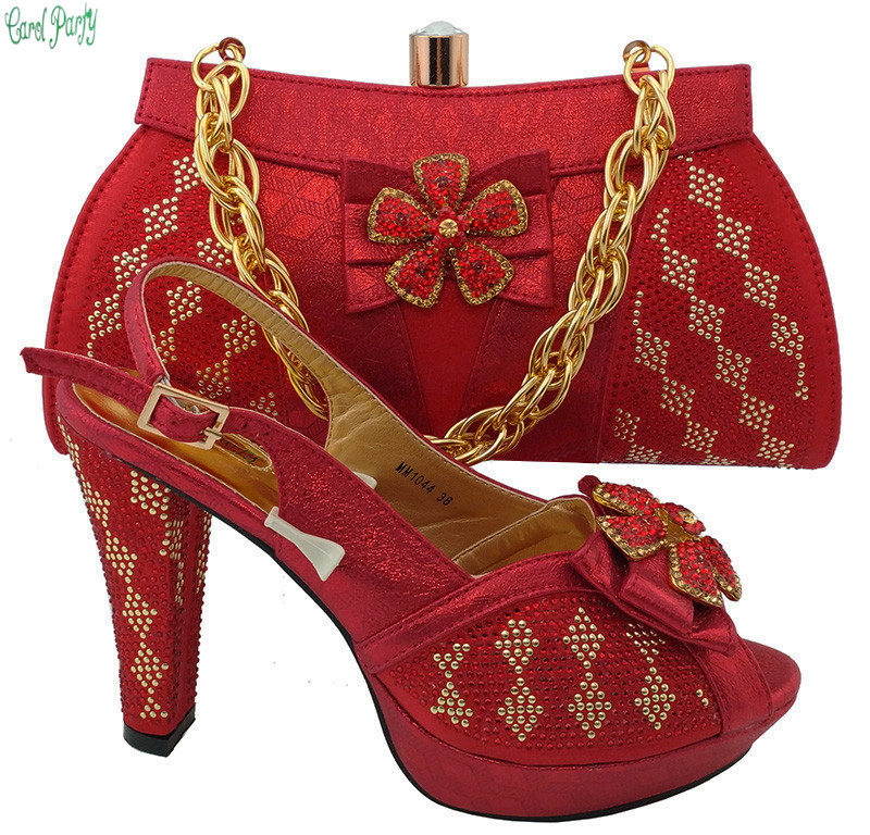 Fashion Shoes and Bag To Match Italian Design Nigerian Fashion Party Shoes and Bag Set Women High Heel Pumps MM1044