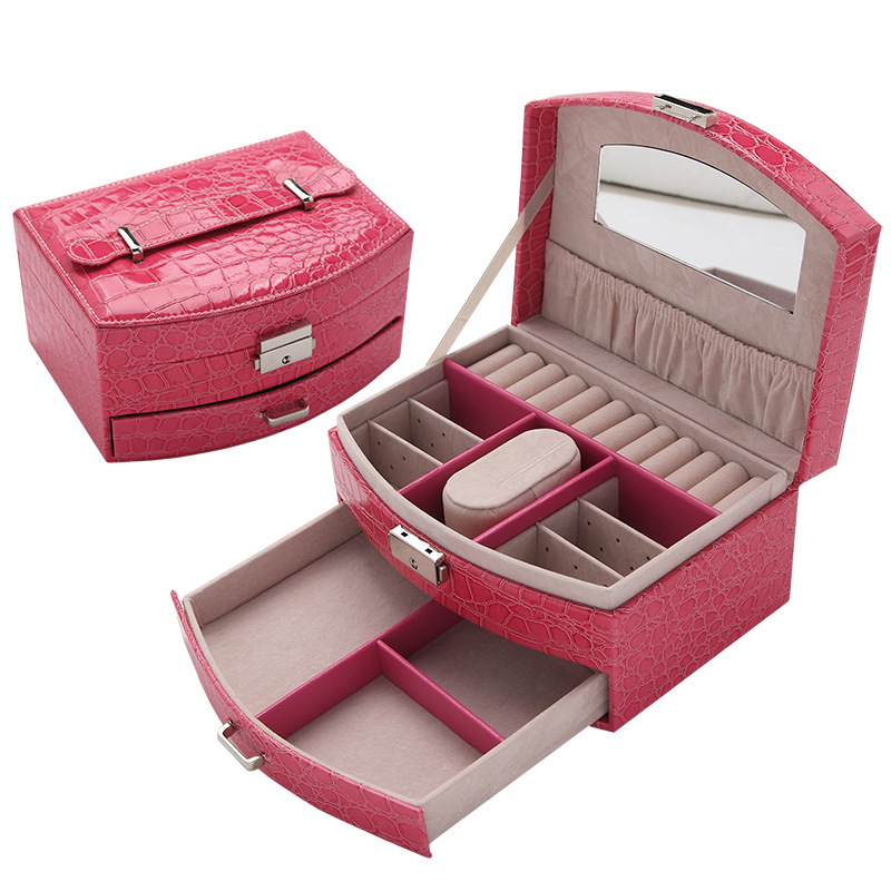 Free Promotion Shipping 2019 New Portable Crocodile For Grain Fan Receive With A Lock Wedding Birthday Gift Jewelry Boxes