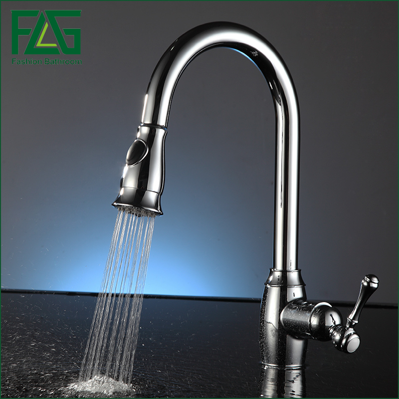 FLG Pull Out Kitchen Faucet, Chrome Finished Sink Mixer Tap, Copper Single Handle Vessel Sink Kitchen Faucets kitchen chrome plated brass faucet single handle pull out pull down sink mixer hot and cold tap modern design