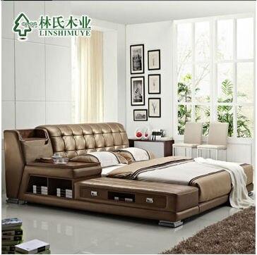 Cuero genuino moderno cama, top de cuero de vaca tatami cama de ...