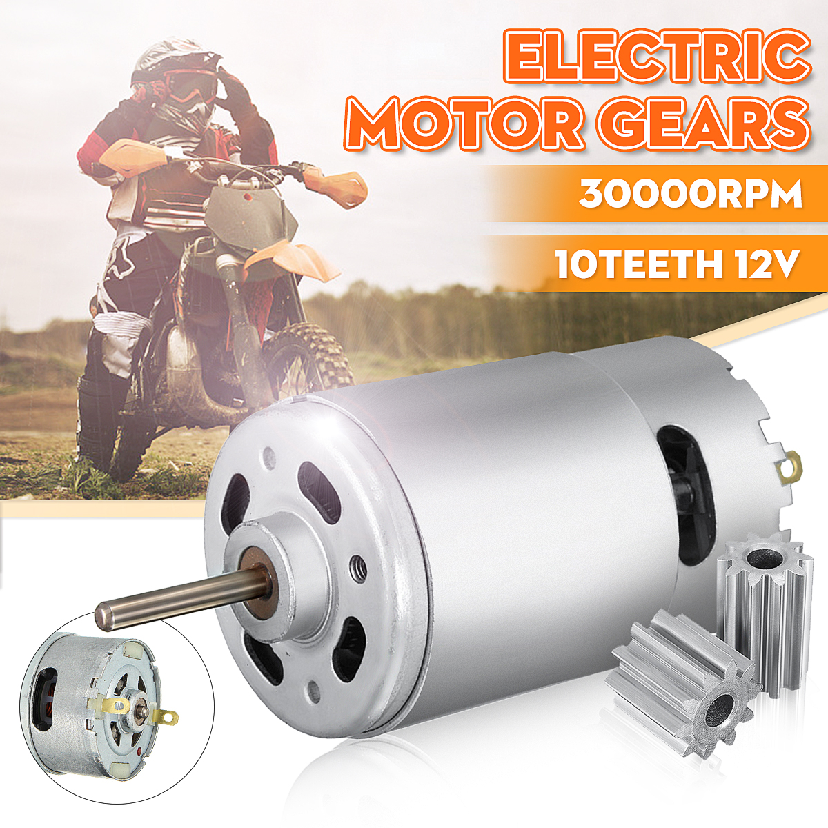 DC Motor <font><b>12V</b></font> 30000 RPM for Children Electric Car,RC Ride, Baby Car Electric Motor <font><b>RS550</b></font> Gearbox 10 teeth Engine Hot Sale image