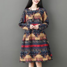 Autumn 2019 New National Style Loose Printed Round Collar Cotton Linen Long-sleeved Dress