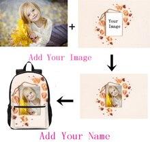 Customized Individual Image Name Backpack For Boys Girls Fashion 3D Printing School Bag Laptop Backbag Bookbag Mochila Escolar backpacks for men women fashion cool customized image name 3d printing school bags travel laptop backbag bookbag mochila escolar