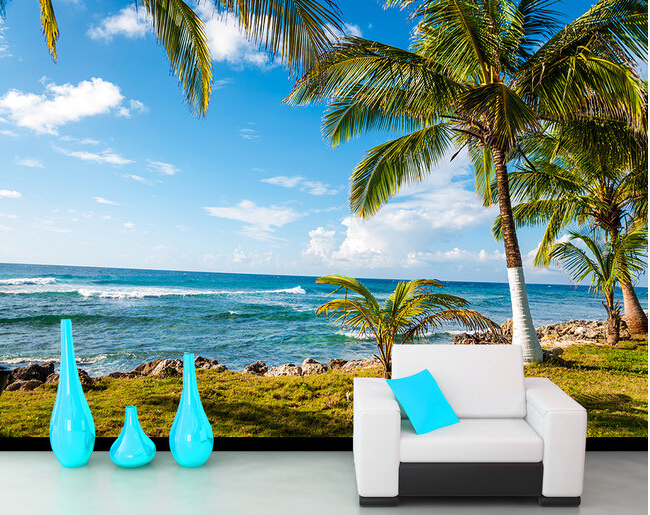 Custom 3D photo wallpaper, palm beach landscape for the living room bedroom TV background wall waterproof papel de parede custom wallpaper ceiling murals palm blue sky for the living room ceiling apartment hotel background wall vinyl papel de parede