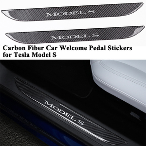 Image 1 - 2pcs/set Styling Carbon Fiber Car Front Door Sill Welcome Pedal Decoration Sticker Protector Cover Accessories for Tesla Model S
