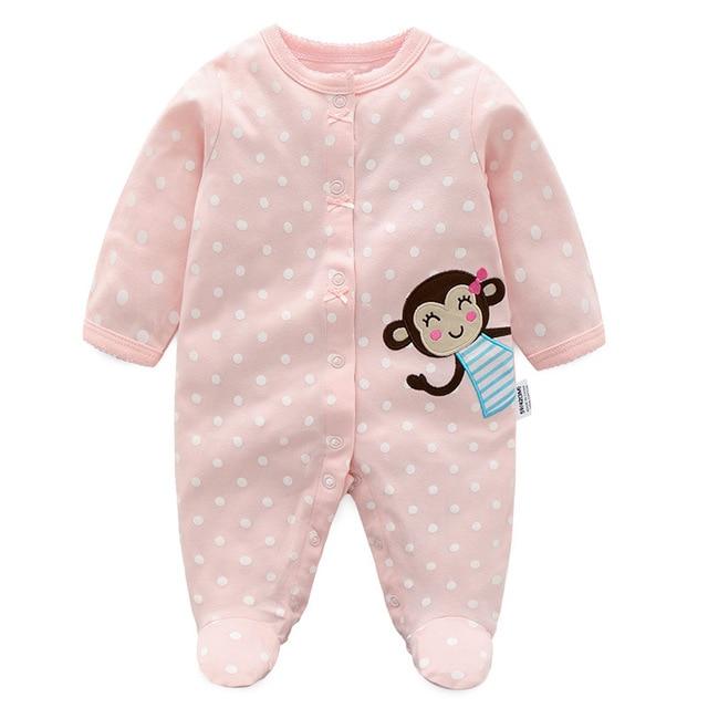 b5d777374 Pink Monkey Baby girls boy rompers 100% Cotton Soft baby pajamas ...