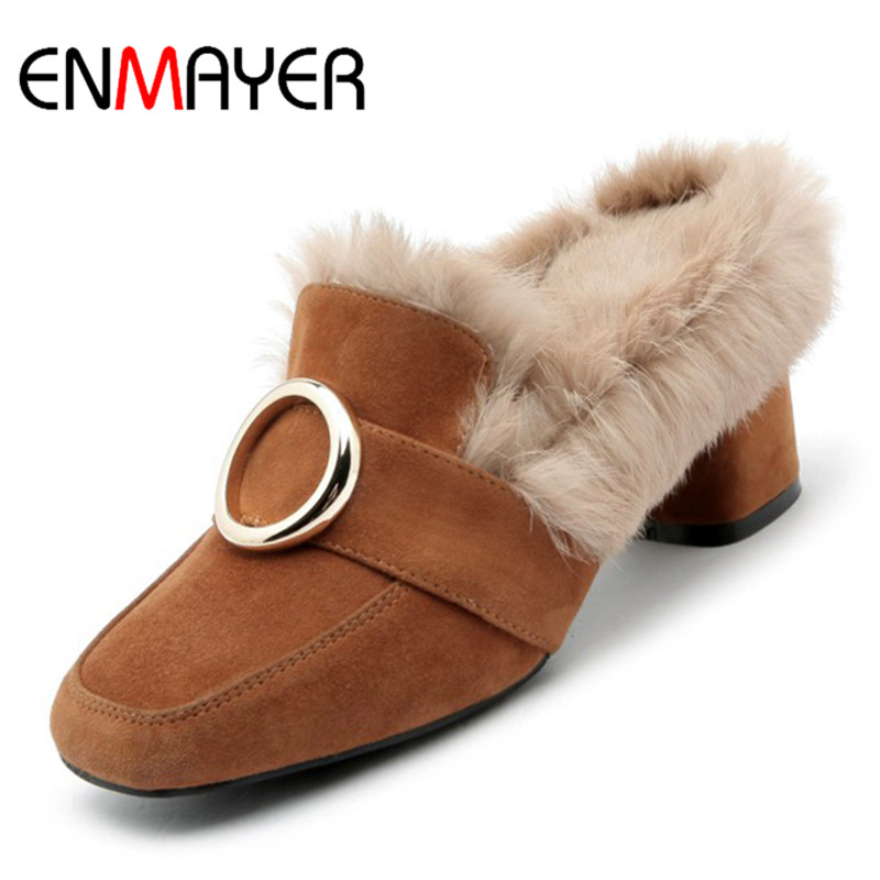 ENMAYER Square Toe Shoes Woman Med Heel Pumps Square Heel Girls Casual Shoes Shallow Slip-on Pumps Solid Lades Shoes newest solid flock high heel pumps woman
