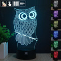 European shipping OWL 3D Night Light RGB Changeable Mood Lamp LED Light DC 5V USB Decorative Table Lamp Get  free remote control