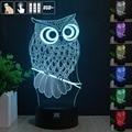 European shipping OWL Night 3D RGB Cambiable Lámpara de estado de Ánimo de Luz LED luz dc 5 v usb lámpara de mesa decorativa get free control remoto
