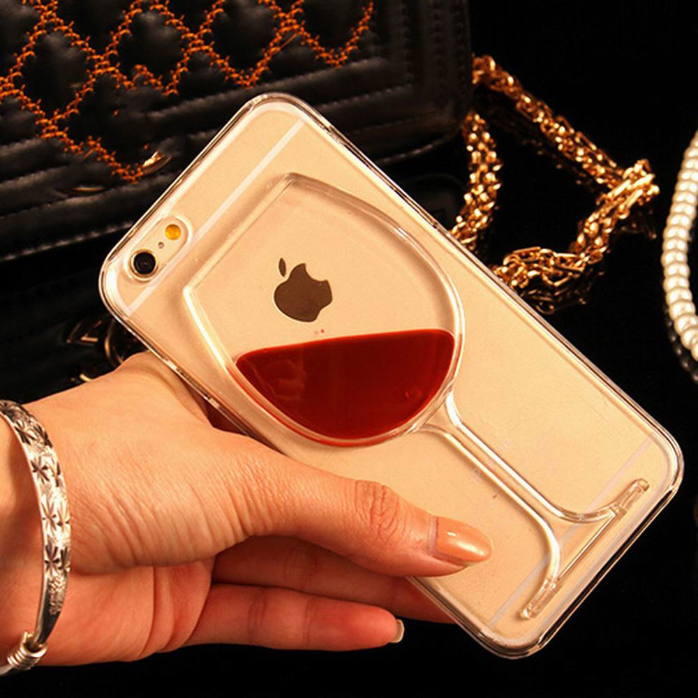 For iPhone 7 For iPhone 5 5S SE 6 6S 6Splus 7 7Plus Liquid Quicksand Red Wine Transparent Phone Case Hard PC Back Cover