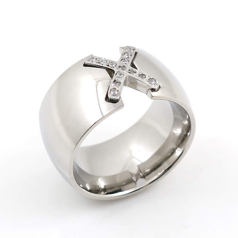 Punk Style Simple Fashion Cross Crystal Ring 12mm Wide