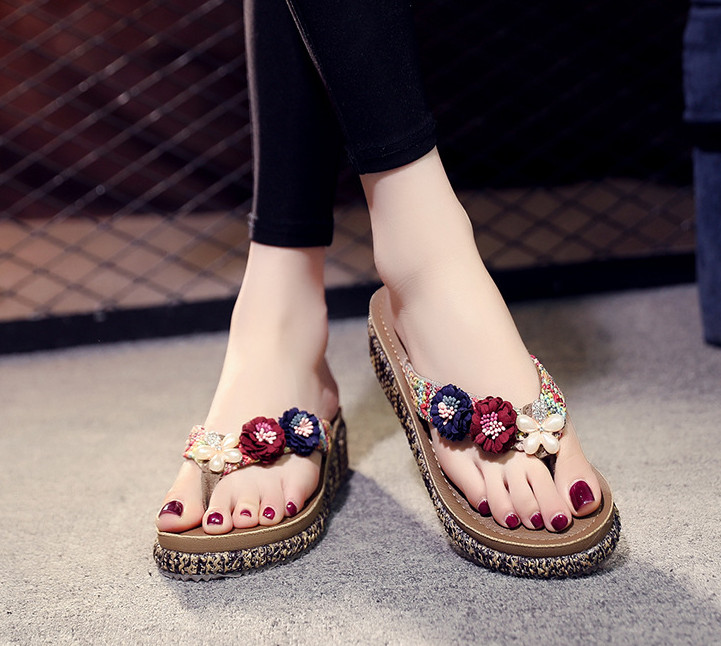 2018 New Handmade Shoes Flower Flip Flops Womens Thick -1631