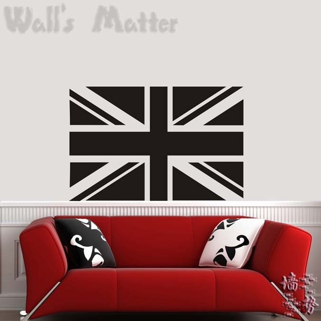 Creative UK Flag Vinyl Wall Decal British National Flag Mural Art Wall  Sticker Living Room Bedroom