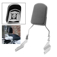 Chrome Skull Motorcycle Bike Rear Passenger Backrest Sissy Bar Cushion Pad Kit For Honda VF 750