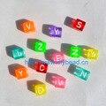 50 шт./лот DIY детские ювелирные изделия браслет разделение акриловые бусины 10 мм квадратная форма Алфавит буквы бусины флюоресцентные смешан...