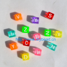 50pcs/lot DIY Children Bracelet Department,Acrylic Beads,10MM Square Shape Letter Beads,Fluorencent Mix Color