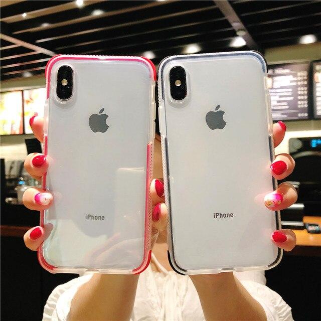 שכבות כפולה עמיד הלם מקרה ברור עבור iphone X XR XS מקסימום 10 7 8 6 s 6 בתוספת 6D Gasbag מלא גוף רך כיסוי עבור Samsung galaxy S9