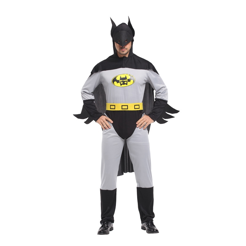Umorden Adult Gray Batman Cosplay Men Superhero Bat Man Costume Christmas New Year Halloween Party Fantasia Jumpsuit