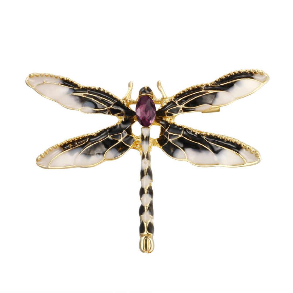 ヴィンテージ動物トンボ登るブローチクリスタルラインストーンのブローチ女性のドレススカーフの宝石類のギフト