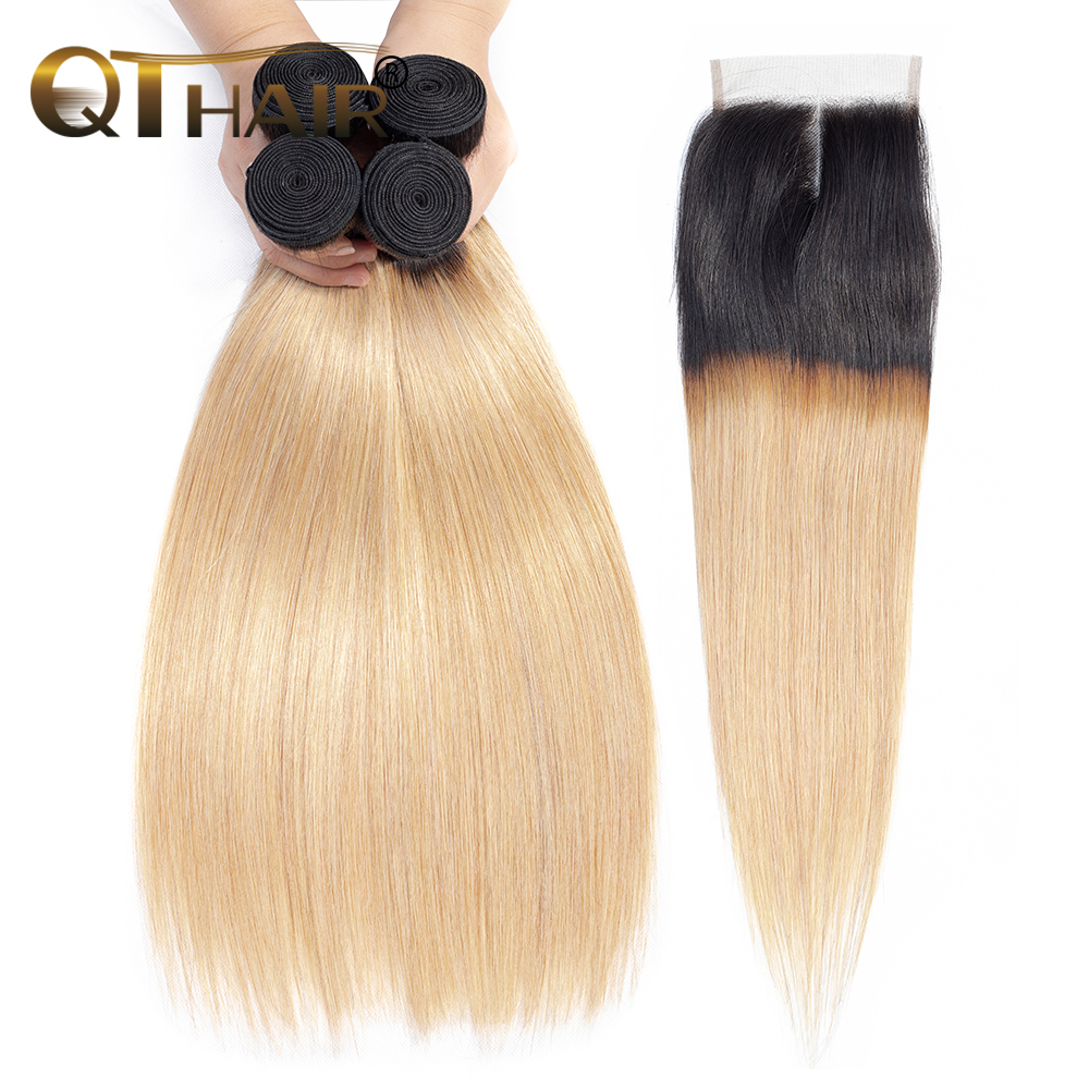 QT Human Hair Bundles With Closure 3 Bundles With Lace Closure Dark Roots T1B 27 Ombre