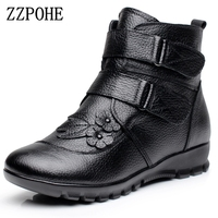 ZZPOHE Winter Shoes Women Flats Ankle Boots Woman Fashion Genuine Leather Wedges Boots Mother Casual Non