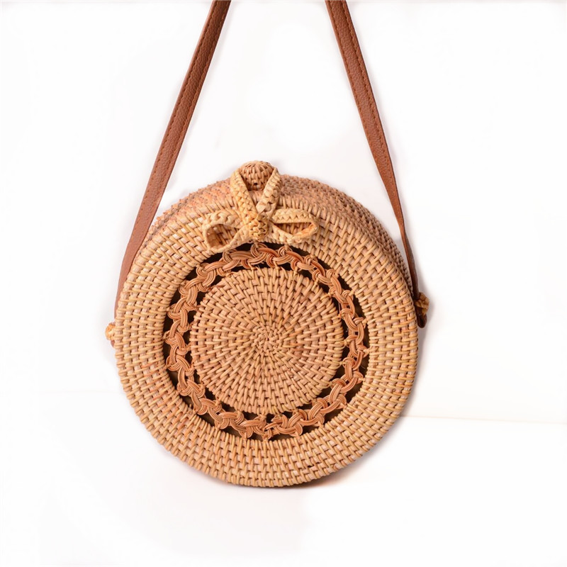 18 Round Straw Bags Women Summer Rattan Bag Handmade Woven Beach Cross Body Bag Circle Bohemia Handbag Bali 4
