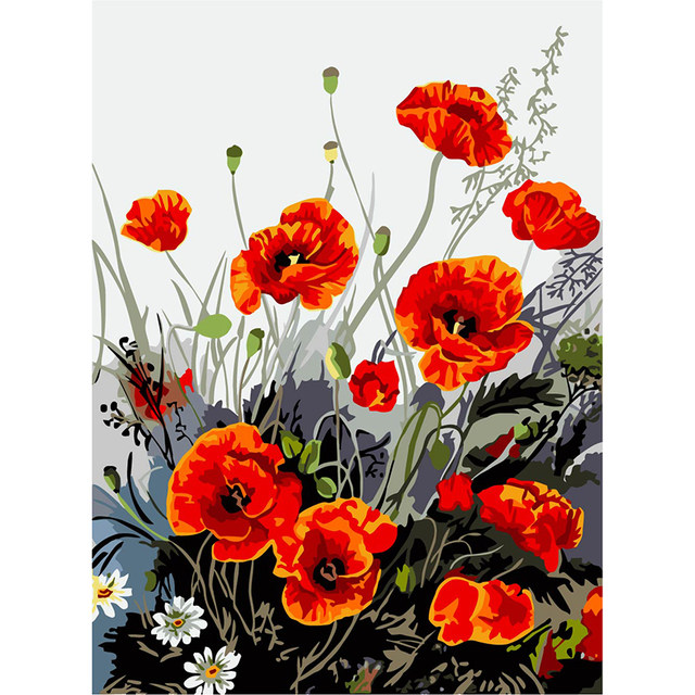 Online shop digital oil painting red poppy vase flower pictures by sale mightylinksfo